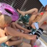 黒GAL乱交パーティ!夏のプールサイドでビキニ水着姿のままハメまくりのビッチギャル達!